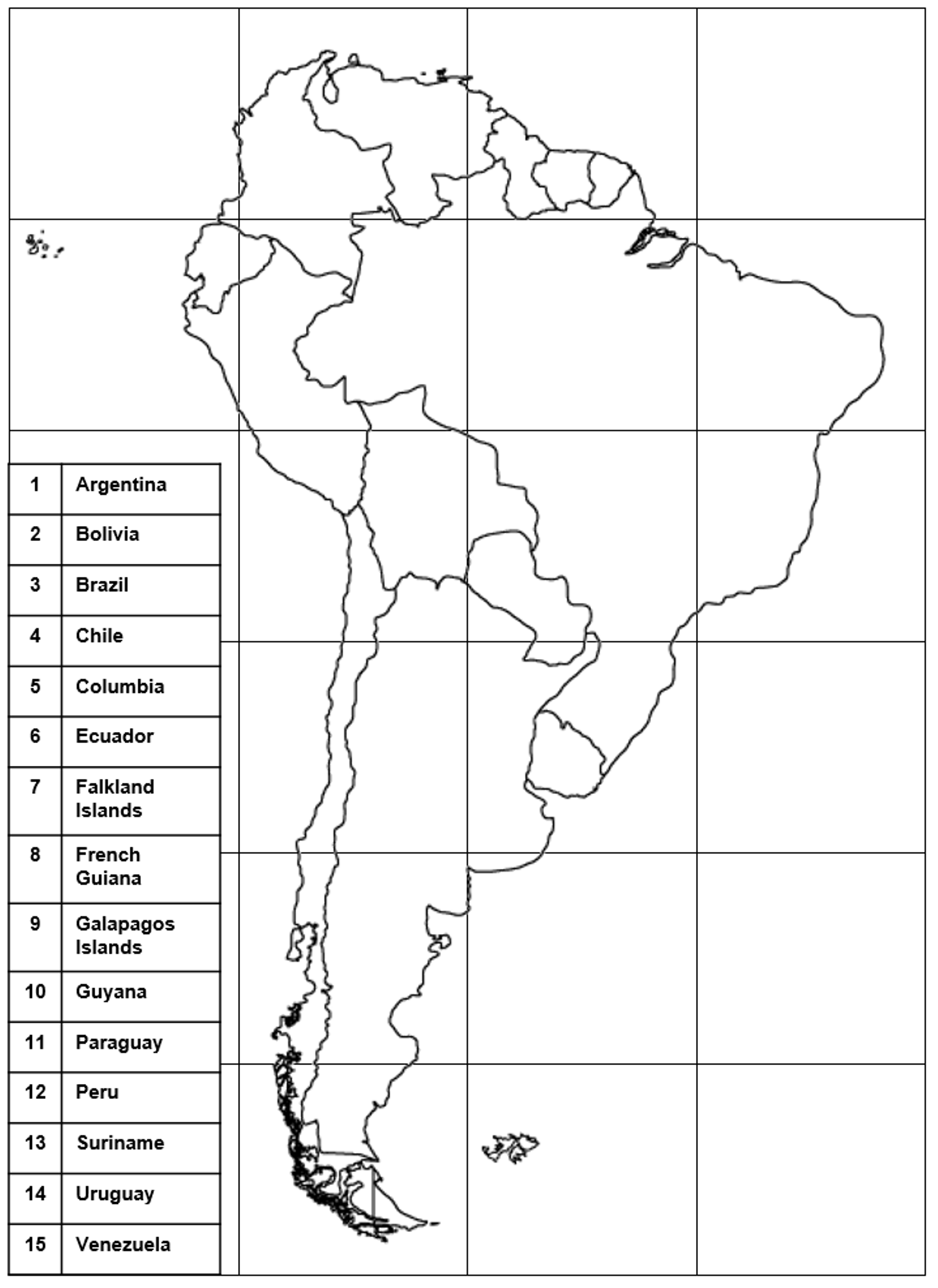 south america grid map